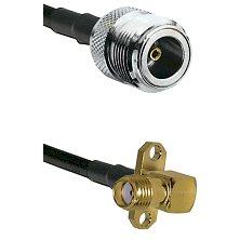 N Female on LMR240 Ultra Flex to SMA 2 Hole Right Angle Female Cable Assembly