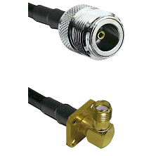 N Female on LMR240 Ultra Flex to SMA 4 Hole Right Angle Female Cable Assembly