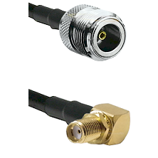 N Female on LMR240 Ultra Flex to SMA Reverse Thread Right Angle Female Bulkhead Coaxial Cable Assemb