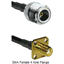 N Female Connector On LMR-240UF UltraFlex To SMA 4 Hole Female Connector Cable Assembly