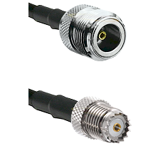 N Female on RG142 to Mini-UHF Female Cable Assembly