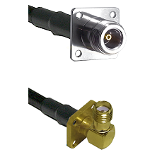 N 4 Hole Female on LMR-195-UF UltraFlex to SMA 4 Hole Right Angle Female Cable Assembly