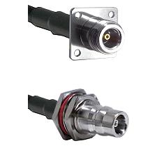N 4 Hole Female on LMR200 UltraFlex to QN Female Bulkhead Cable Assembly