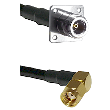 N 4 Hole Female on LMR200 UltraFlex to SMA Reverse Polarity Right Angle Male Cable Assembly