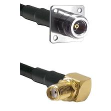 N 4 Hole Female on LMR200 UltraFlex to SMA Right Angle Female Bulkhead Cable Assembly