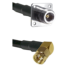 N 4 Hole Female on LMR200 UltraFlex to SMA Right Angle Male Cable Assembly