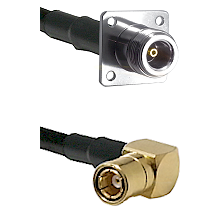 N 4 Hole Female on LMR200 UltraFlex to SMB Right Angle Female Cable Assembly