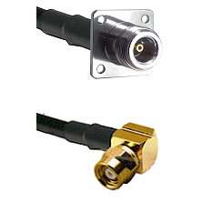 N 4 Hole Female on LMR200 UltraFlex to SMC Right Angle Female Cable Assembly