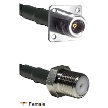 N 4 Hole Female Connector On LMR-240UF UltraFlex To F Female Connector Cable Assembly