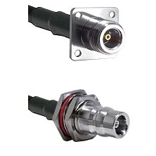 N 4 Hole Female Connector On LMR-240UF UltraFlex To QN Female Bulkhead Connector Coaxial Cable Assem