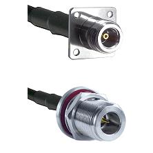 N 4 Hole Female Connector On LMR-240UF UltraFlex To N Reverse Polarity Female Bulkhead Connector Coa