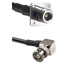 N 4 Hole Female Connector On LMR-240UF UltraFlex To BNC Reverse Polarity Right Angle Male Connector