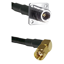 N 4 Hole Female Connector On LMR-240UF UltraFlex To SMA Reverse Polarity Right Angle Male Connector