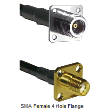 N 4 Hole Female Connector On LMR-240UF UltraFlex To SMA 4 Hole Female Connector Coaxial Cable Assemb