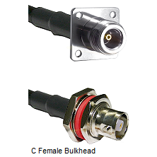N 4 Hole Female on RG142 to C Female Bulkhead Cable Assembly