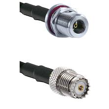 N Female Bulkhead on LMR100 to Mini-UHF Female Cable Assembly