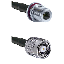 N Female Bulkhead on LMR100 to TNC Reverse Polarity Male Cable Assembly
