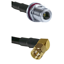 N Female Bulkhead on LMR100 to SMB Right Angle Male Cable Assembly