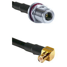 N Female Bulkhead on LMR-195-UF UltraFlex to MCX Right Angle Male Cable Assembly