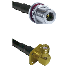 N Female Bulkhead on LMR-195-UF UltraFlex to SMA 4 Hole Right Angle Female Cable Assembly