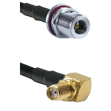 N Female Bulkhead on LMR-195-UF UltraFlex to SMA Right Angle Female Bulkhead Cable Assembly