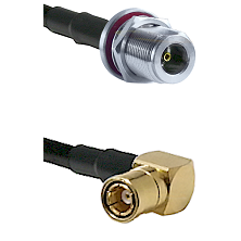 N Female Bulkhead on LMR-195-UF UltraFlex to SMB Right Angle Female Cable Assembly