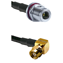 N Female Bulkhead on LMR-195-UF UltraFlex to SMC Right Angle Female Cable Assembly