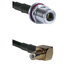 N Female Bulkhead on LMR-195-UF UltraFlex to SMC Right Angle Male Cable Assembly