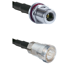 N Female Bulkhead on LMR200 UltraFlex to 7/16 Din Female Cable Assembly