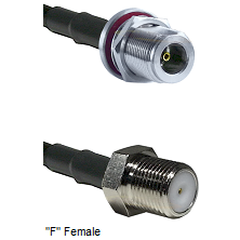 N Female Bulkhead Connector On LMR-240UF UltraFlex To F Female Connector Cable Assembly