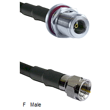 N Female Bulkhead Connector On LMR-240UF UltraFlex To F Male Connector Cable Assembly