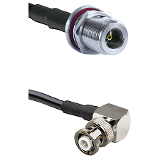 N Female Bulkhead Connector On LMR-240UF UltraFlex To MHV Right Angle Male Connector Coaxial Cable A