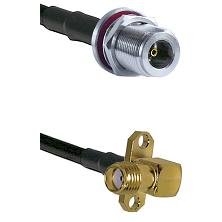 N Female Bulkhead on LMR240 Ultra Flex to SMA 2 Hole Right Angle Female Cable Assembly