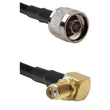 N Male on RG58C/U to SMA Reverse Thread Right Angle Female Bulkhead Cable Assembly