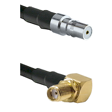 QMA Female Connector On LMR-240UF UltraFlex To SMA Reverse Thread Right Angle Female Bulkhead Connec