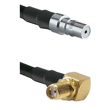 QMA Female on RG58C/U to SMA Right Angle Female Bulkhead Cable Assembly