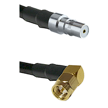 QMA Female on RG58C/U to SMA Right Angle Male Cable Assembly