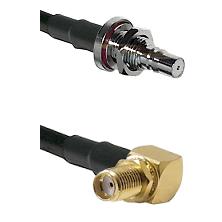 QMA Female Bulkhead on LMR100 to SMA Reverse Thread Right Angle Female Bulkhead Coaxial Cable Assemb