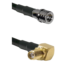 QMA Male on RG400 to SMA Reverse Thread Right Angle Female Bulkhead Cable Assembly
