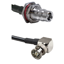 QN Female Bulkhead on LMR100 to BNC Reverse Polarity Right Angle Male Cable Assembly