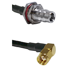 QN Female Bulkhead on LMR100 to SMA Reverse Polarity Right Angle Male Cable Assembly