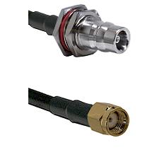 QN Female Bulkhead on LMR100/U to SMA Reverse Polarity Male Cable Assembly