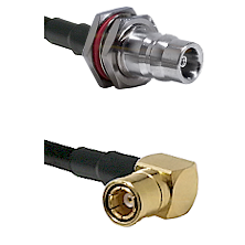 QN Female Bulkhead on LMR100 to SMB Right Angle Female Cable Assembly
