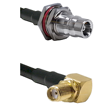 QN Female Bulkhead on LMR100 to SMA Reverse Thread Right Angle Female Bulkhead Coaxial Cable Assembl
