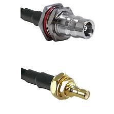 QN Female Bulkhead on LMR100 to SSMB Male Bulkhead Cable Assembly
