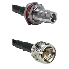 QN Female Bulkhead on LMR200 UltraFlex to Mini-UHF Male Cable Assembly