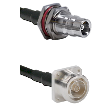 QN Female Bulkhead Connector On LMR-240UF UltraFlex To 7/16 4 Hole Female Connector Coaxial Cable As