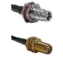 QN Female Bulkhead Connector On LMR-240UF UltraFlex To SMA Reverse Polarity Female Bulkhead Connecto