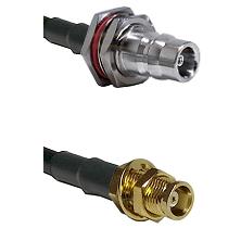 QN Female Bulkhead on RG58C/U to MCX Female Bulkhead Cable Assembly