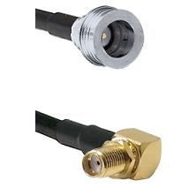 QN Male Connector On LMR-240UF UltraFlex To SMA Reverse Thread Right Angle Female Bulkhead Connector